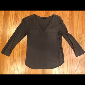 Gap Gray Blouse with Pocket Detail